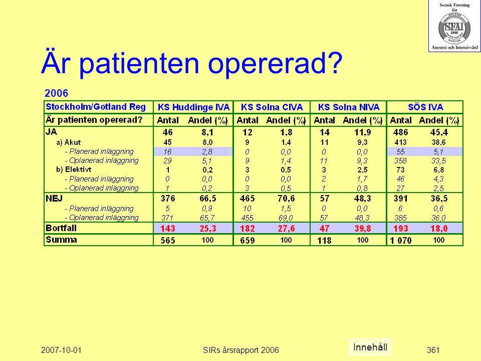 2007-10-01SIRs årsrapport 2006361 Är patienten opererad? 2006 Innehåll