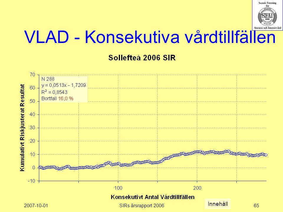 2007-10-01SIRs årsrapport 200665 VLAD - Konsekutiva vårdtillfällen Innehåll