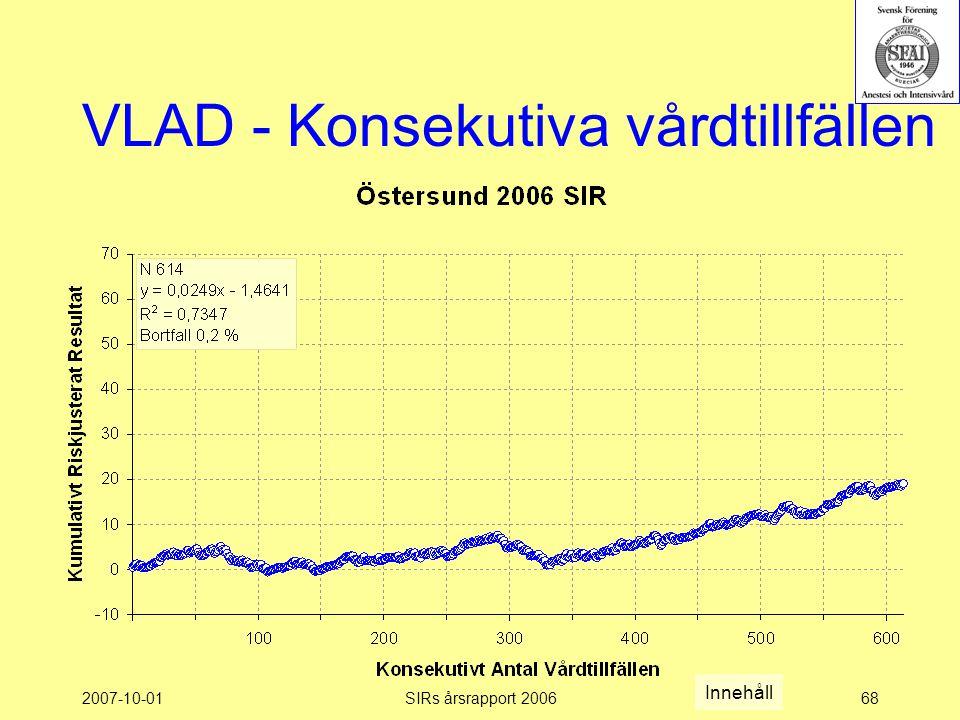 2007-10-01SIRs årsrapport 200668 VLAD - Konsekutiva vårdtillfällen Innehåll