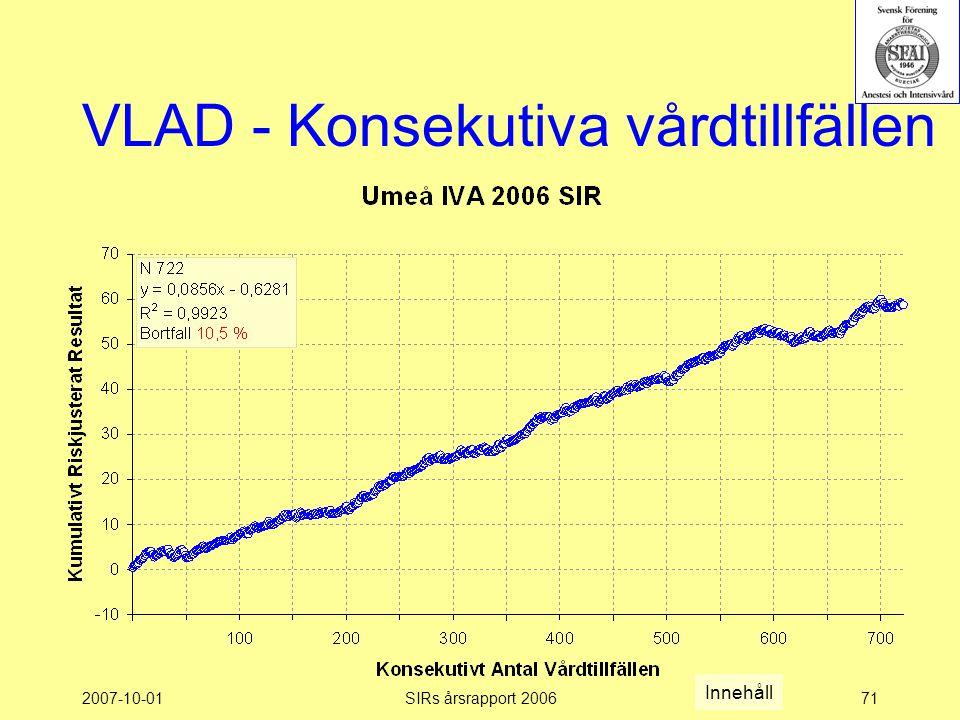 2007-10-01SIRs årsrapport 200671 VLAD - Konsekutiva vårdtillfällen Innehåll