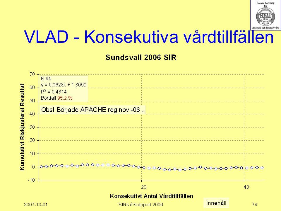 2007-10-01SIRs årsrapport 200674 VLAD - Konsekutiva vårdtillfällen Innehåll