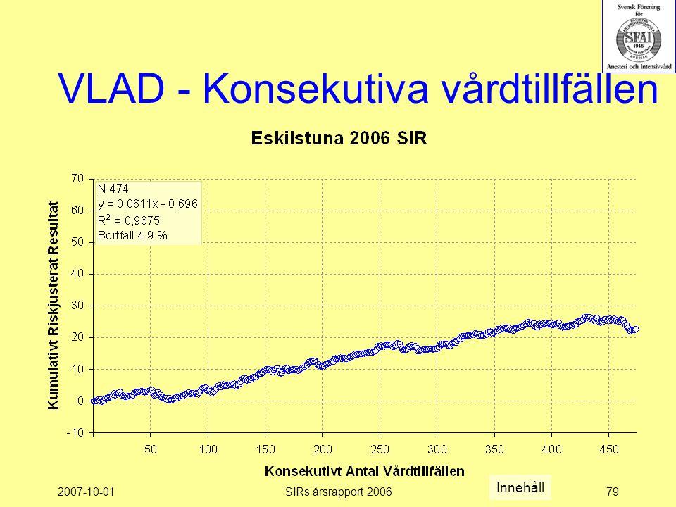 2007-10-01SIRs årsrapport 200679 VLAD - Konsekutiva vårdtillfällen Innehåll