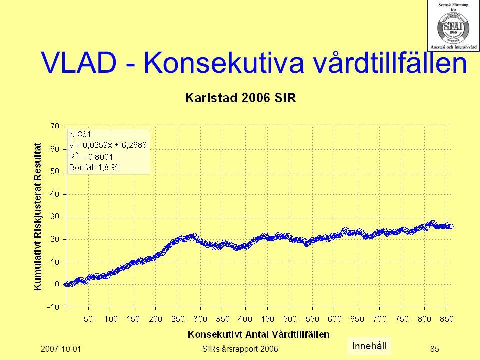 2007-10-01SIRs årsrapport 200685 VLAD - Konsekutiva vårdtillfällen Innehåll