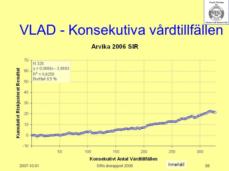 2007-10-01SIRs årsrapport 200688 VLAD - Konsekutiva vårdtillfällen Innehåll