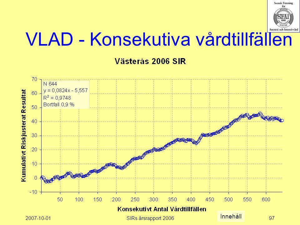 2007-10-01SIRs årsrapport 200697 VLAD - Konsekutiva vårdtillfällen Innehåll