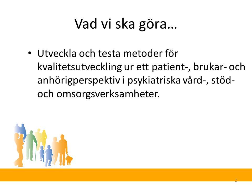 Vad vi ska göra… 2 Utveckla och testa metoder för kvalitetsutveckling ur ett patient-, brukar- och anhörigperspektiv i psykiatriska vård-, stöd- och omsorgsverksamheter.