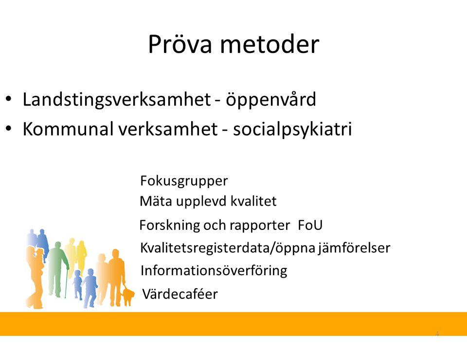 Pröva metoder 4 Landstingsverksamhet - öppenvård Kommunal verksamhet - socialpsykiatri Värdecaféer Mäta upplevd kvalitet Forskning och rapporter FoU Kvalitetsregisterdata/öppna jämförelser Informationsöverföring Fokusgrupper
