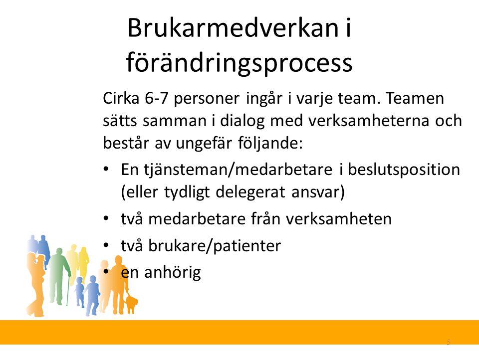 Brukarmedverkan i förändringsprocess 5 Cirka 6-7 personer ingår i varje team.