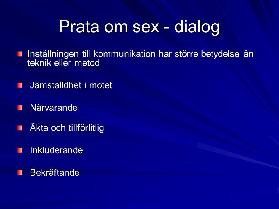 Prata om sex - dialog Inställningen till kommunikation har större betydelse än teknik eller metod Jämställdhet i mötet Närvarande Äkta och tillförlitl