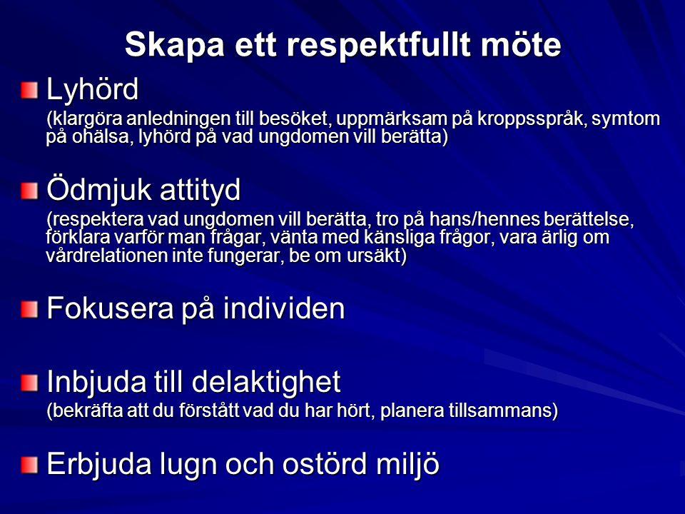 Skapa ett respektfullt möte Lyhörd (klargöra anledningen till besöket, uppmärksam på kroppsspråk, symtom på ohälsa, lyhörd på vad ungdomen vill berätt