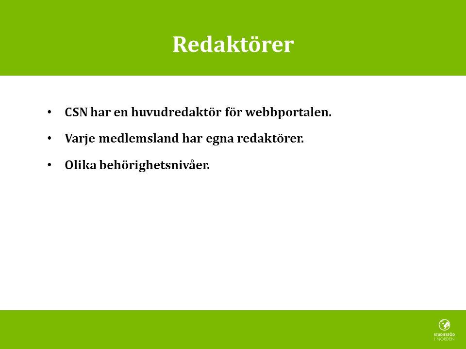 Redaktörer CSN har en huvudredaktör för webbportalen. Varje medlemsland har egna redaktörer. Olika behörighetsnivåer.
