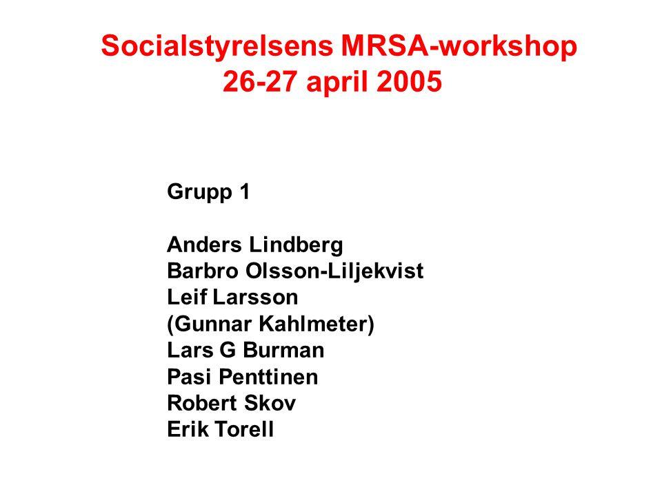 Socialstyrelsens MRSA-workshop 26-27 april 2005 Grupp 1 Anders Lindberg Barbro Olsson-Liljekvist Leif Larsson (Gunnar Kahlmeter) Lars G Burman Pasi Penttinen Robert Skov Erik Torell