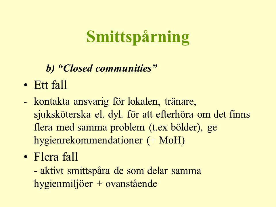 """Smittspårning b) """"Closed communities"""" Ett fall -kontakta ansvarig för lokalen, tränare, sjuksköterska el. dyl. för att efterhöra om det finns flera me"""