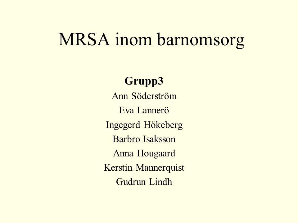 MRSA inom barnomsorg Grupp3 Ann Söderström Eva Lannerö Ingegerd Hökeberg Barbro Isaksson Anna Hougaard Kerstin Mannerquist Gudrun Lindh