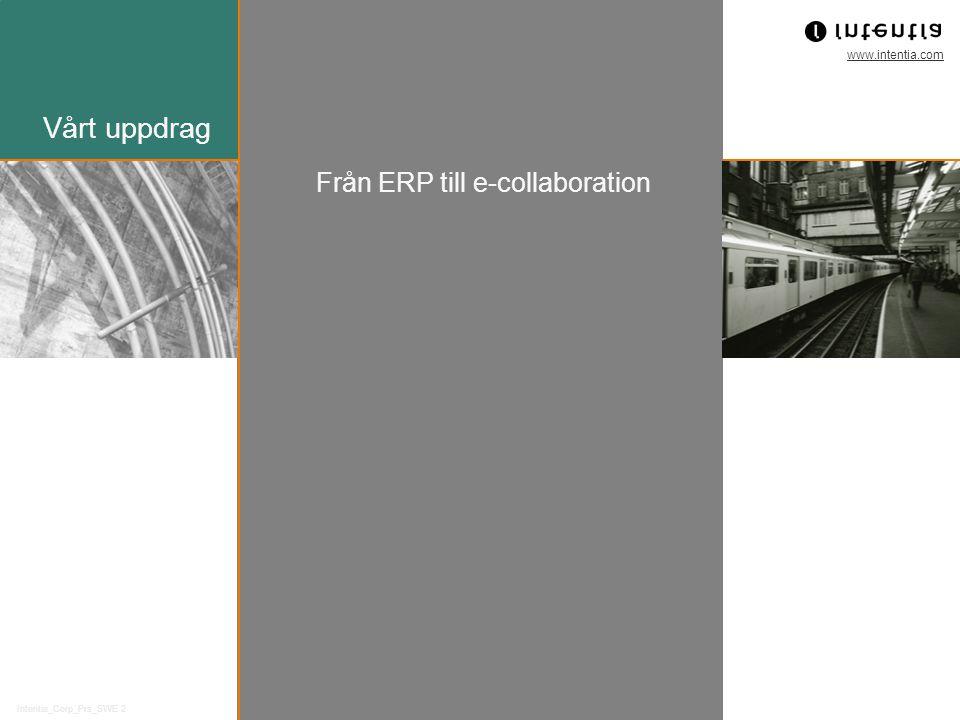 www.intentia.com Intentia_Corp_Prs_SWE 2 Vårt uppdrag Från ERP till e-collaboration