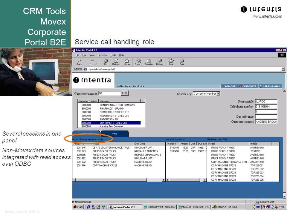 www.intentia.com Intentia_Corp_Prs_SWE 38 Service call handling role Several sessions in one panel Non-Movex data sources integrated with read access over ODBC CRM-Tools Movex Corporate Portal B2E