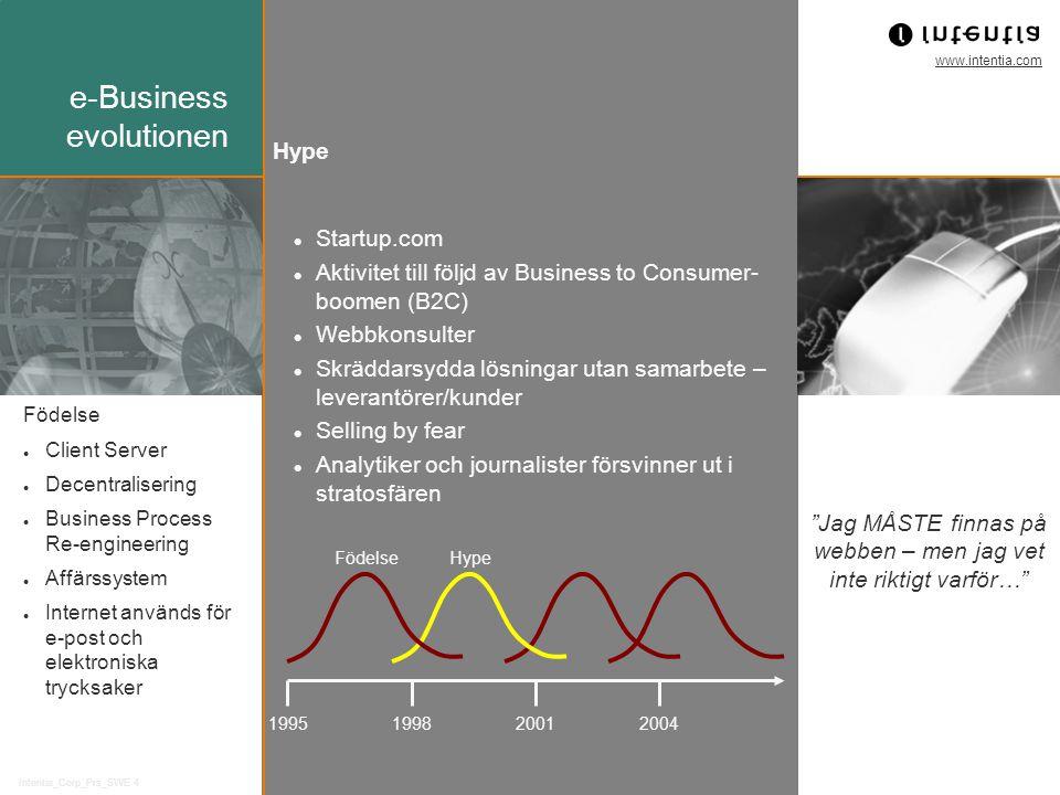 www.intentia.com Intentia_Corp_Prs_SWE 4 Startup.com Aktivitet till följd av Business to Consumer- boomen (B2C) Webbkonsulter Skräddarsydda lösningar utan samarbete – leverantörer/kunder Selling by fear Analytiker och journalister försvinner ut i stratosfären 1995199820012004 FödelseHype Födelse Client Server Decentralisering Business Process Re-engineering Affärssystem Internet används för e-post och elektroniska trycksaker Hype Jag MÅSTE finnas på webben – men jag vet inte riktigt varför… e-Business evolutionen