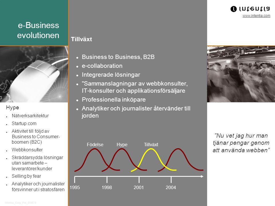 www.intentia.com Intentia_Corp_Prs_SWE 5 Business to Business, B2B e-collaboration Integrerade lösningar Sammanslagningar av webbkonsulter, IT-konsulter och applikationsförsäljare Professionella inköpare Analytiker och journalister återvänder till jorden 1995199820012004 FödelseHypeTillväxt Hype Nätverksarkitektur Startup.com Aktivitet till följd av Business to Consumer- boomen (B2C) Webbkonsulter Skräddarsydda lösningar utan samarbete – leverantörer/kunder Selling by fear Analytiker och journalister försvinner ut i stratosfären Tillväxt Nu vet jag hur man tjänar pengar genom att använda webben e-Business evolutionen