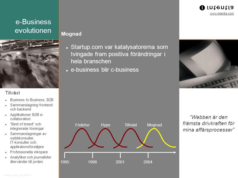 www.intentia.com Intentia_Corp_Prs_SWE 6 Mognad Startup.com var katalysatorerna som tvingade fram positiva förändringar i hela branschen e-business bl