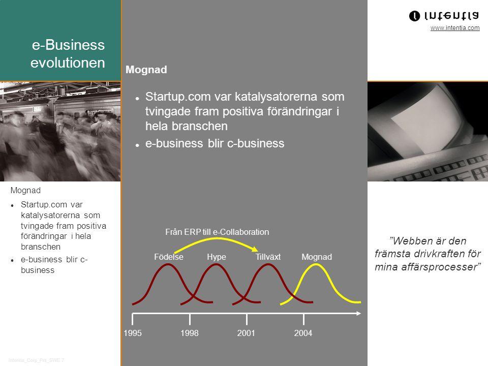 www.intentia.com Intentia_Corp_Prs_SWE 7 Mognad Startup.com var katalysatorerna som tvingade fram positiva förändringar i hela branschen e-business blir c-business Mognad Startup.com var katalysatorerna som tvingade fram positiva förändringar i hela branschen e-business blir c- business e-Business evolutionen Webben är den främsta drivkraften för mina affärsprocesser 1995199820012004 FödelseHypeTillväxtMognad Från ERP till e-Collaboration