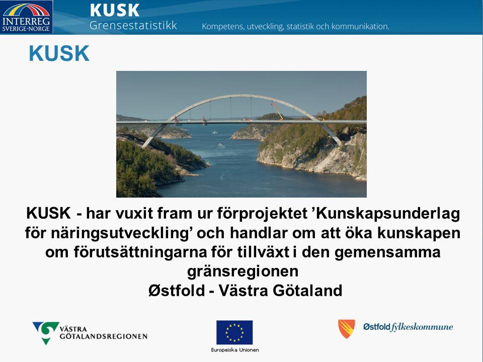 KUSK KUSK - har vuxit fram ur förprojektet 'Kunskapsunderlag för näringsutveckling' och handlar om att öka kunskapen om förutsättningarna för tillväxt i den gemensamma gränsregionen Østfold - Västra Götaland