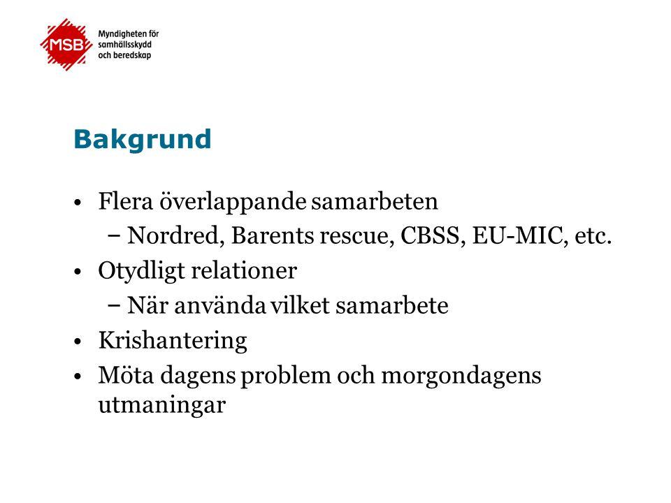 Bakgrund Flera överlappande samarbeten – Nordred, Barents rescue, CBSS, EU-MIC, etc.