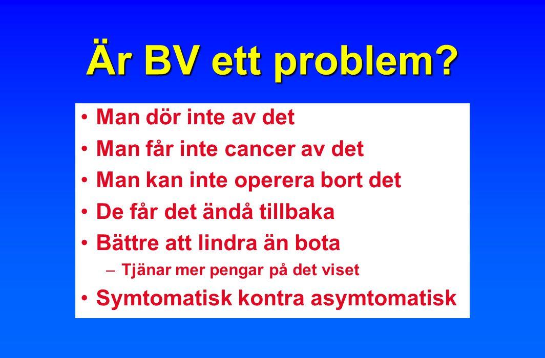 Är BV ett problem? Man dör inte av det Man får inte cancer av det Man kan inte operera bort det De får det ändå tillbaka Bättre att lindra än bota –Tj