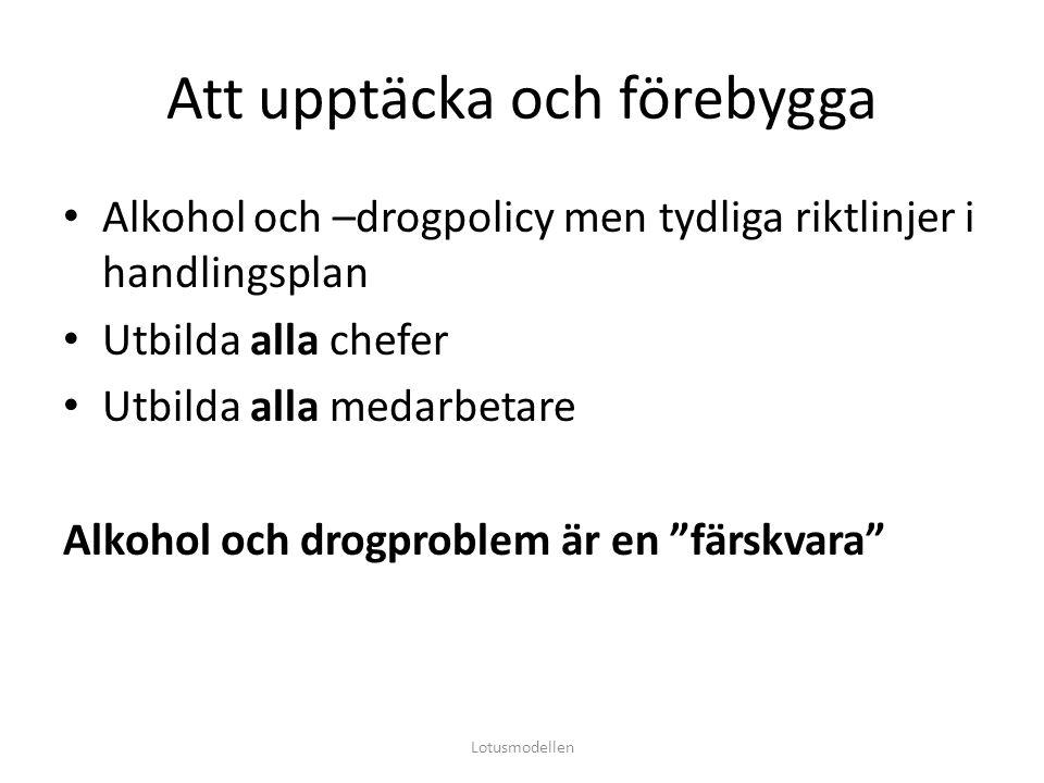 Att upptäcka och förebygga Alkohol och –drogpolicy men tydliga riktlinjer i handlingsplan Utbilda alla chefer Utbilda alla medarbetare Alkohol och dro
