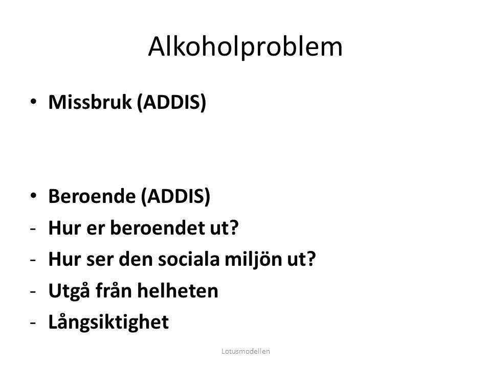 Alkoholproblem Missbruk (ADDIS) Beroende (ADDIS) -Hur er beroendet ut? -Hur ser den sociala miljön ut? -Utgå från helheten -Långsiktighet Lotusmodelle