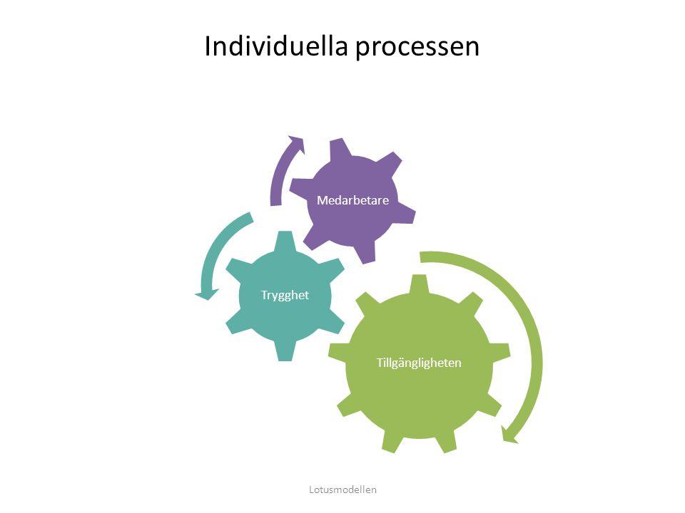 Individuella processen Tillgängligheten Trygghet Medarbetare Lotusmodellen