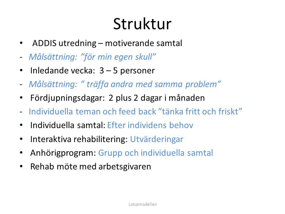 """Struktur ADDIS utredning – motiverande samtal - Målsättning: """"för min egen skull"""" Inledande vecka: 3 – 5 personer - Målsättning: """" träffa andra med sa"""