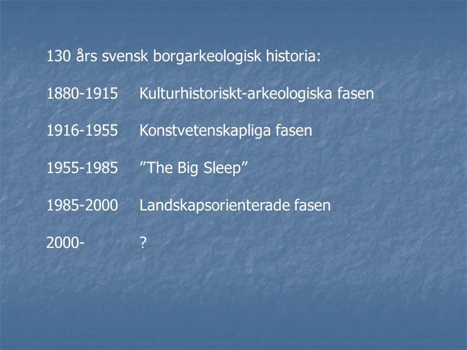 130 års svensk borgarkeologisk historia: 1880-1915Kulturhistoriskt-arkeologiska fasen 1916-1955Konstvetenskapliga fasen 1955-1985 The Big Sleep 1985-2000Landskapsorienterade fasen 2000-?