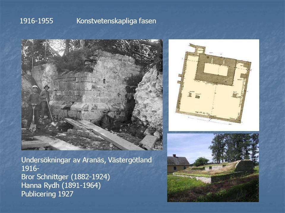 1916-1955Konstvetenskapliga fasen Undersökningar av Aranäs, Västergötland 1916- Bror Schnittger (1882-1924) Hanna Rydh (1891-1964) Publicering 1927