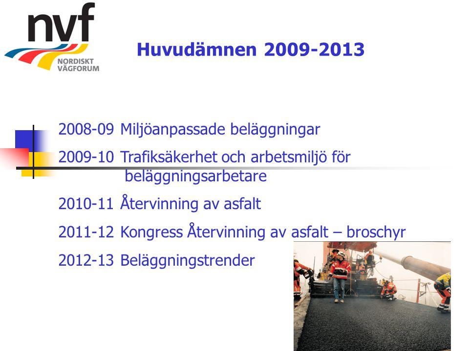 Huvudämnen 2009-2013 2008-09 Miljöanpassade beläggningar 2009-10 Trafiksäkerhet och arbetsmiljö för beläggningsarbetare 2010-11 Återvinning av asfalt