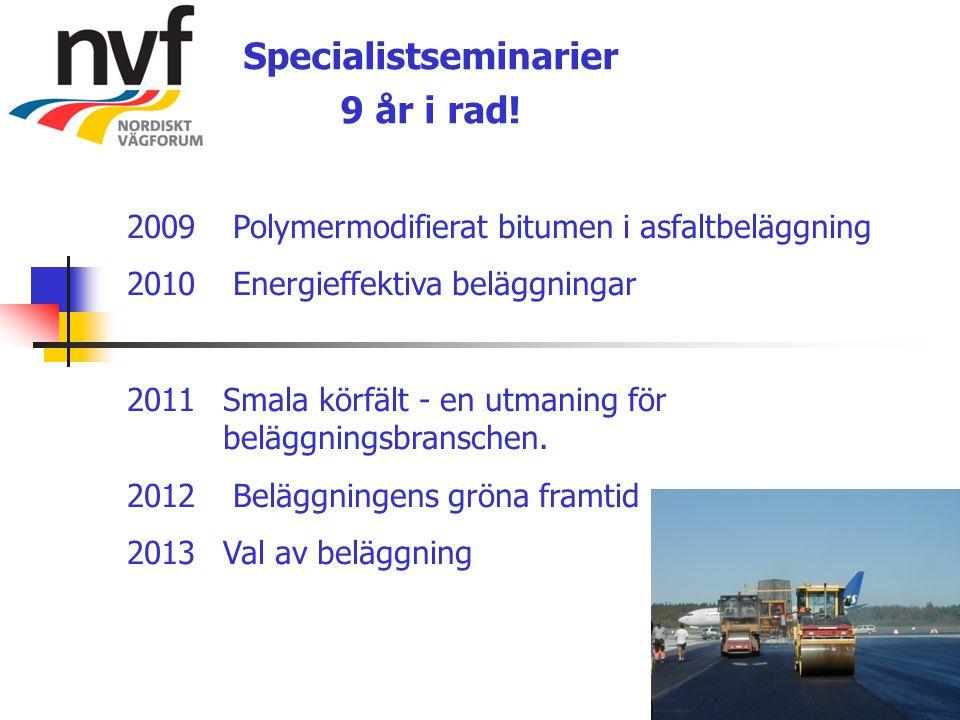 Specialistseminarier 9 år i rad! 2009 Polymermodifierat bitumen i asfaltbeläggning 2010 Energieffektiva beläggningar 2011 Smala körfält - en utmaning