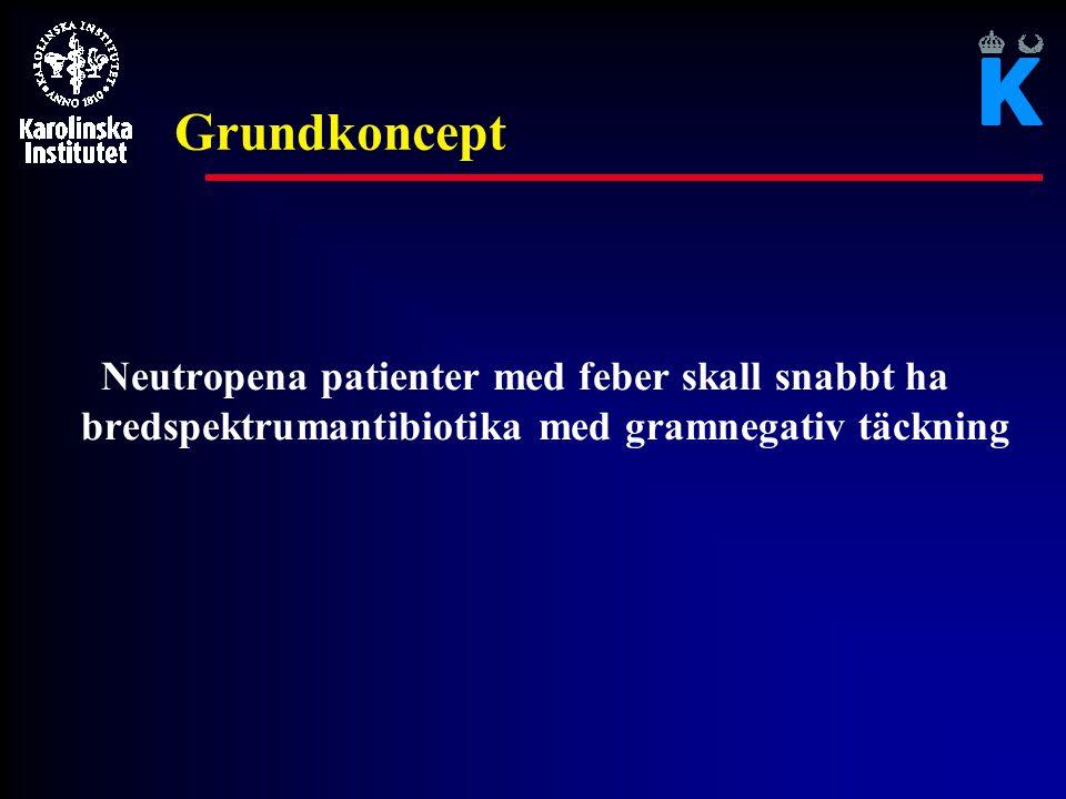 Grundkoncept Neutropena patienter med feber skall snabbt ha bredspektrumantibiotika med gramnegativ täckning