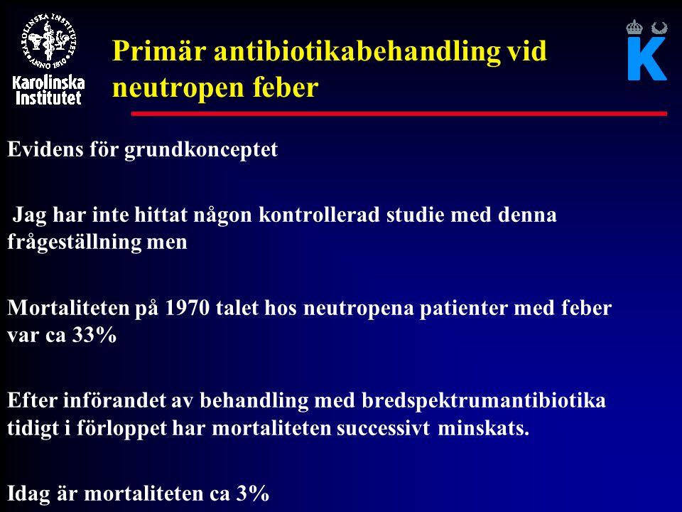 Behandling av patienter med feber och neutropeni l Enstaka större studier finns men de flesta är gamla l Många små studier som jämför olika antibiotika l Relativt små skillnader i resultat l Nyligen publicerad metaanalys (Paul et al; JAC 2005)