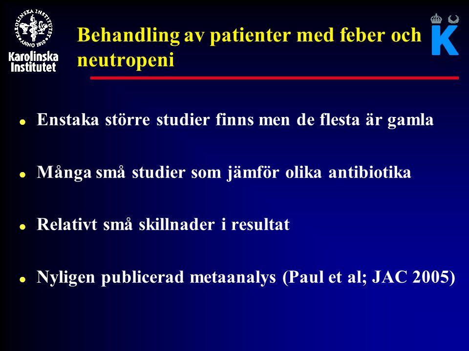 Behandling av patienter med feber och neutropeni l Enstaka större studier finns men de flesta är gamla l Många små studier som jämför olika antibiotik