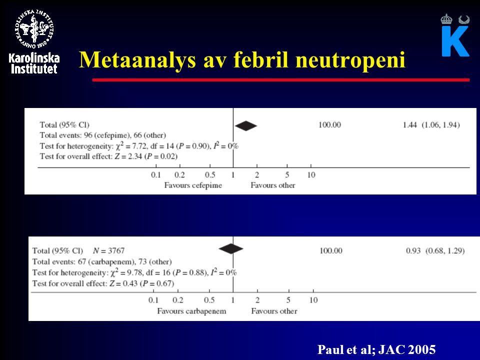 Metanalys av febril neutropeni Paul et al; JAC 2005