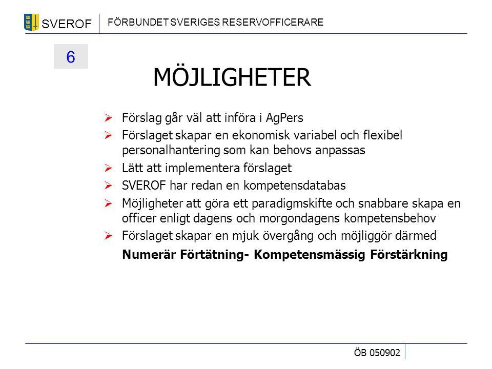 SVEROF FÖRBUNDET SVERIGES RESERVOFFICERARE ÖB 050902 MÖJLIGHETER  Förslag går väl att införa i AgPers  Förslaget skapar en ekonomisk variabel och fl