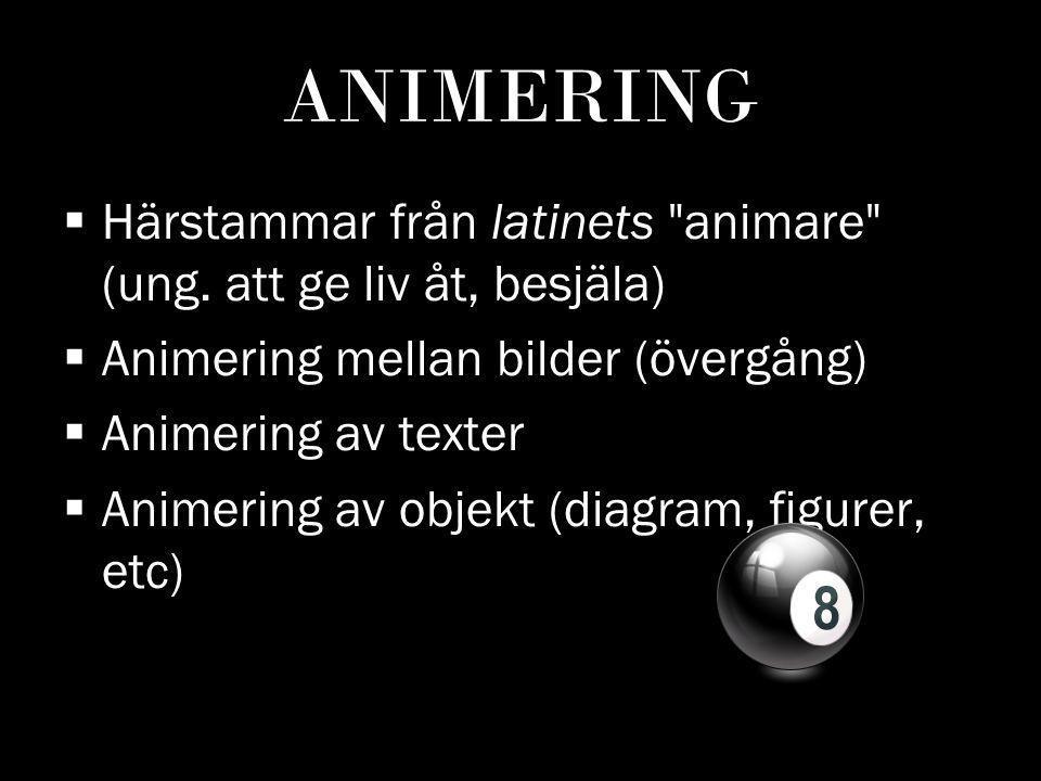 ANIMERING HHärstammar från latinets animare (ung.