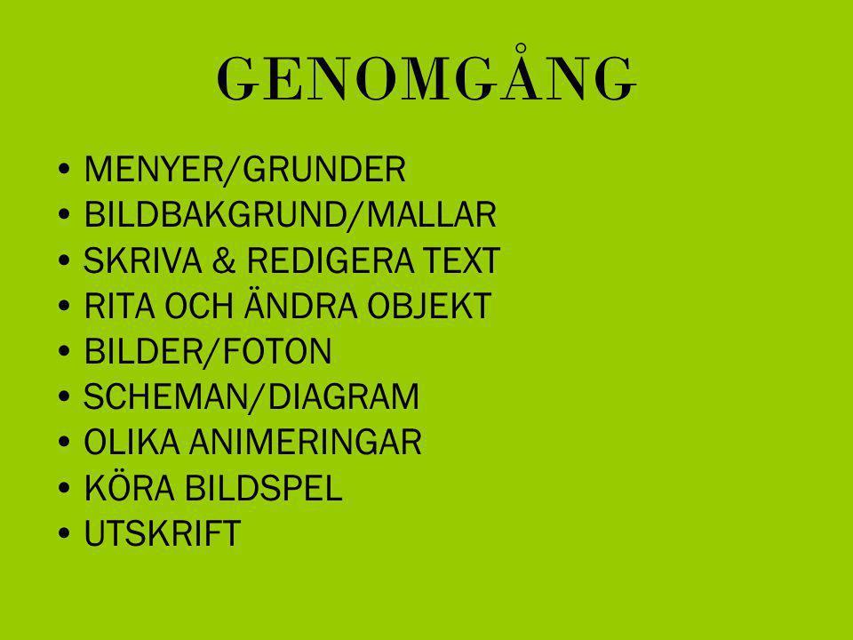 GENOMGÅNG MENYER/GRUNDER BILDBAKGRUND/MALLAR SKRIVA & REDIGERA TEXT RITA OCH ÄNDRA OBJEKT BILDER/FOTON SCHEMAN/DIAGRAM OLIKA ANIMERINGAR KÖRA BILDSPEL UTSKRIFT