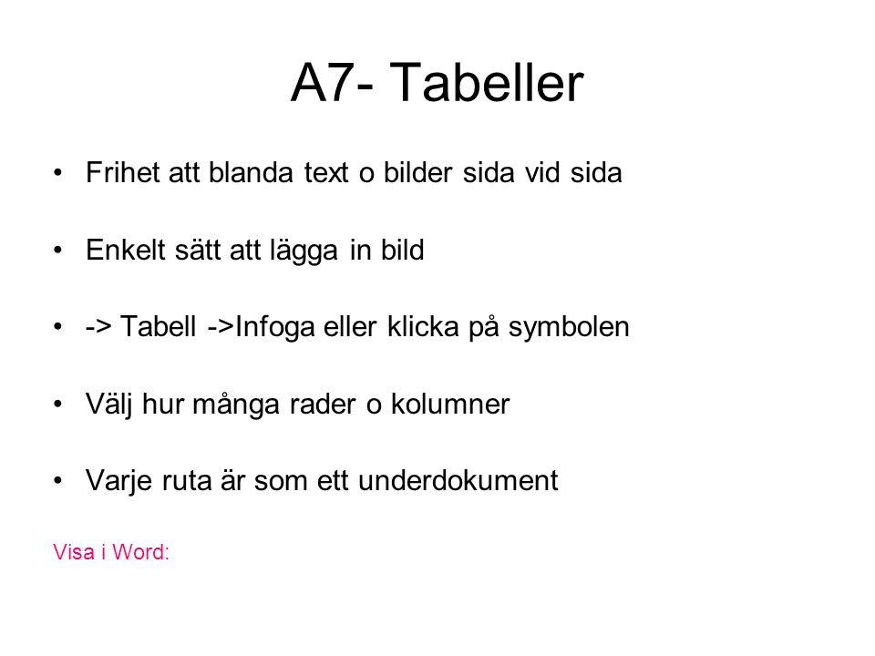 A7- Tabeller Frihet att blanda text o bilder sida vid sida Enkelt sätt att lägga in bild -> Tabell ->Infoga eller klicka på symbolen Välj hur många rader o kolumner Varje ruta är som ett underdokument Visa i Word: