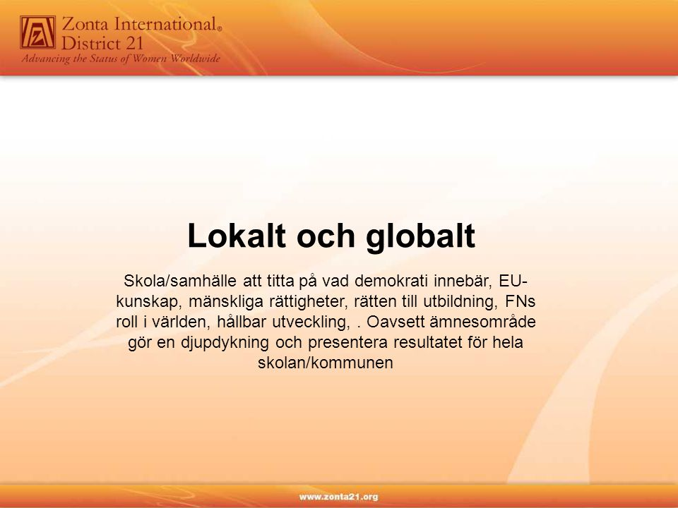 Lokalt och globalt Skola/samhälle att titta på vad demokrati innebär, EU- kunskap, mänskliga rättigheter, rätten till utbildning, FNs roll i världen, hållbar utveckling,.