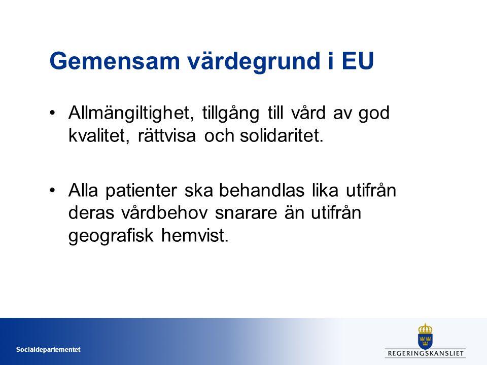 Socialdepartementet Gemensam värdegrund i EU Allmängiltighet, tillgång till vård av god kvalitet, rättvisa och solidaritet. Alla patienter ska behandl