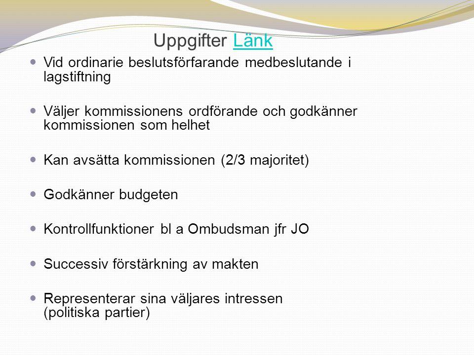 Uppgifter LänkLänk Vid ordinarie beslutsförfarande medbeslutande i lagstiftning Väljer kommissionens ordförande och godkänner kommissionen som helhet