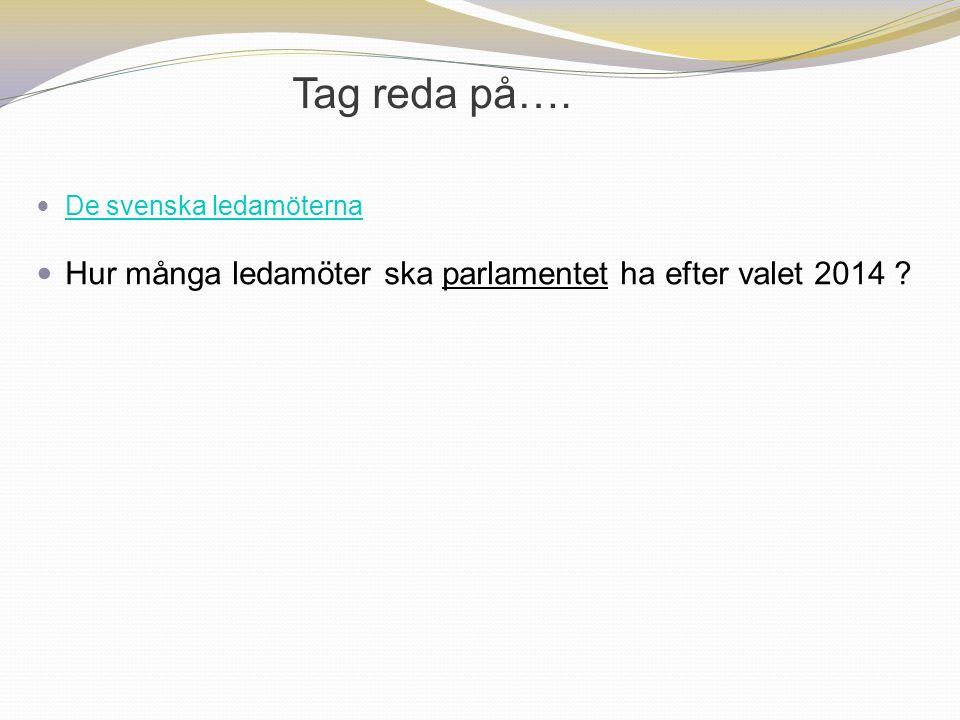 Tag reda på…. De svenska ledamöterna Hur många ledamöter ska parlamentet ha efter valet 2014 ?