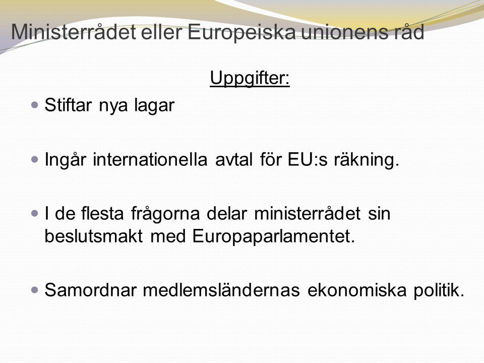 Ministerrådet eller Europeiska unionens råd Uppgifter: Stiftar nya lagar Ingår internationella avtal för EU:s räkning. I de flesta frågorna delar mini
