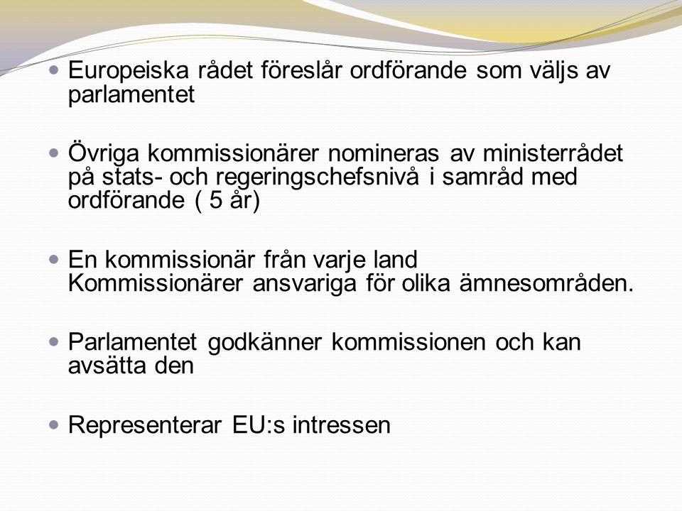 Europeiska rådet föreslår ordförande som väljs av parlamentet Övriga kommissionärer nomineras av ministerrådet på stats- och regeringschefsnivå i samr