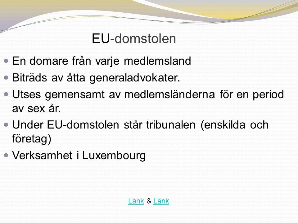 EU-domstolen En domare från varje medlemsland Biträds av åtta generaladvokater. Utses gemensamt av medlemsländerna för en period av sex år. Under EU-d